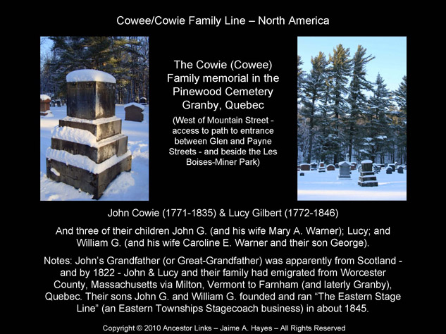 John Cowie & Lucy Gilbert - Pinewood Cemetery, Granby, Que.