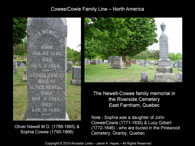 Sophia Cowee & Dr. Oliver Newell, Riverside Cemetery, East Farnham, Que.