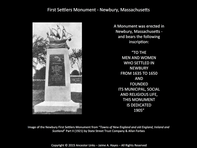 First Settlers Monument - Newbury, Mass.