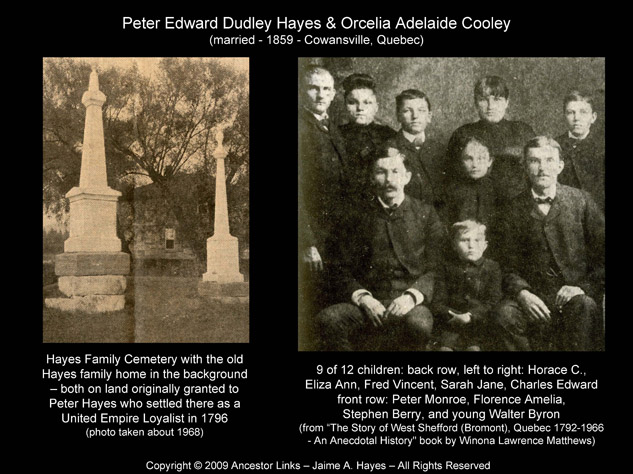 Hayes Family Cemetery & Peter Monroe Hayes & Eight Siblings - West Shefford (Bromont) Que