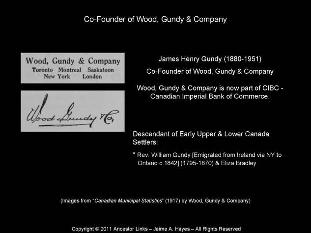 James Henry Gundy - Co-Founder of Wood, Gundy & Company