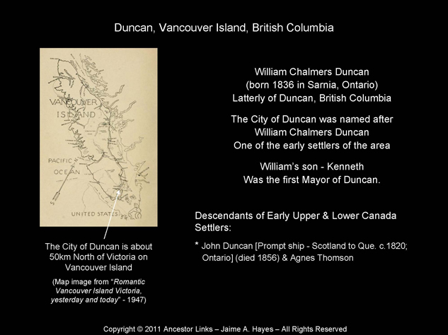 William Chalmers Duncan - Duncan, British Columbia