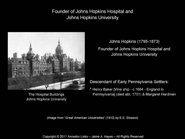 Johns Hopkins - Founder of Johns Hopkins Hospital & University