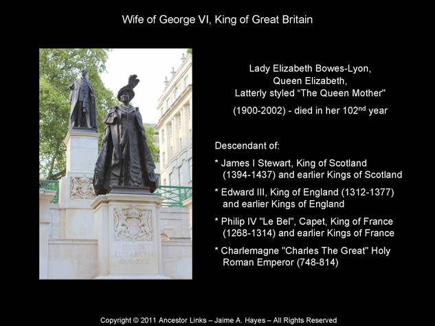 Lady Elizabeth Bowes-Lyon,  Queen Elizabeth, Latterly styled The Queen Mother - Wife of George VI, King of Great Britain