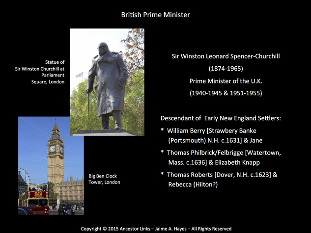 Notable Descendant - Sir Winston Leonard Spencer-Churchill - British Prime Minister