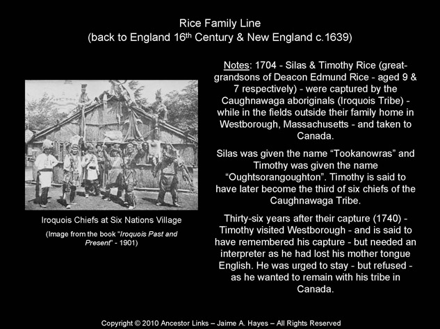 Iroquois Chief Timothy Rice