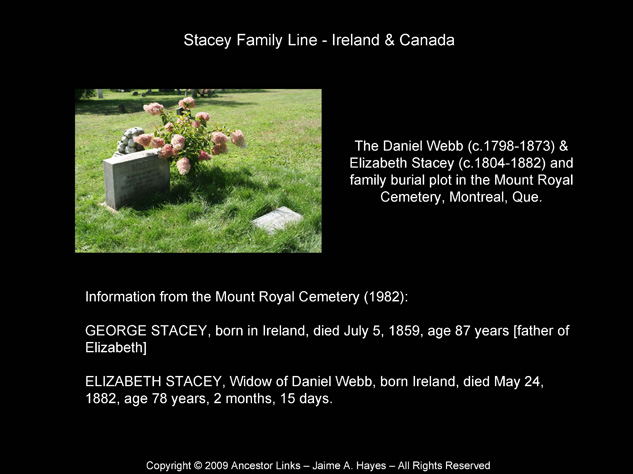 Stacey Family - Mount Royal Cemetery - Montreal