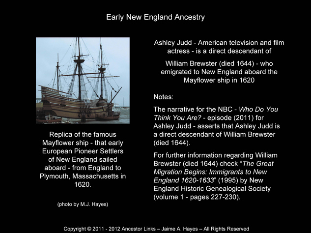 William Brewster - Mayflower ship 1620